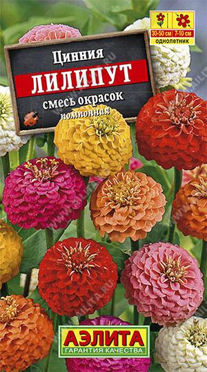 Цинния Лилипут, смесь окрасок ф.п.0,5г