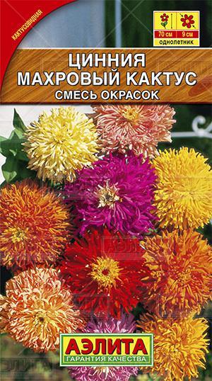 Цинния Махровый кактус, смесь окрасок ф.п.0,3г